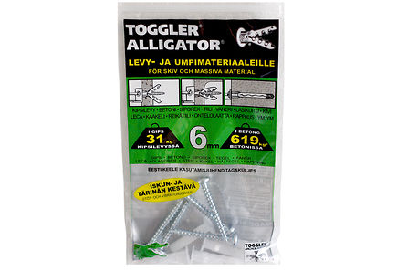 Alligator - TOGGLER ALLIGATOR Kiinnike laipalla 6mm 5kpl/IP + ruuvit