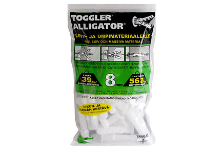 Alligator - TOGGLER ALLIGATOR Kiinnike laipalla 8mm 50kpl/IP